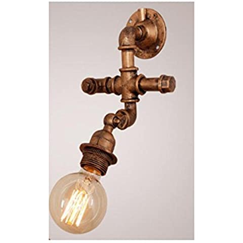 BJVB Pipa de agua de pared lámparas tubo pared lámpara Edison Industrial pared apliques estilo Retro dormitorio y sala de estar en la lámpara de pared de pared (lámpara de pared de oscilación de 90 grados) . b