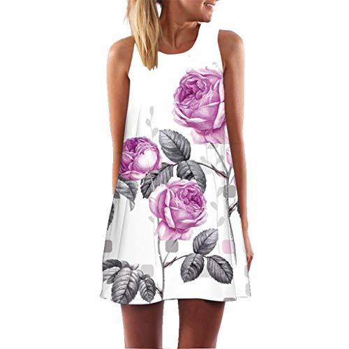 MRULIC Damen Lovely Mini Floral Printing A-Linie Kleider Beach Dress Vintage Boho Frauen Sommer Ärmelloses Party Kleide(A7-Weiß,EU-44/CN-XL) Crinkle Tank Dress