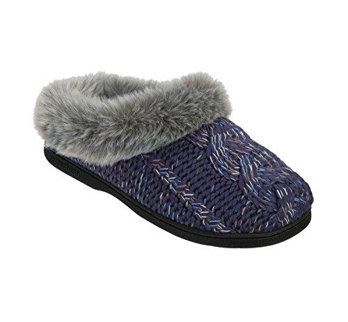 Dearfoams Chunky Novelty Knit Clog With Memorry Foam, Chaussons femme Indigo