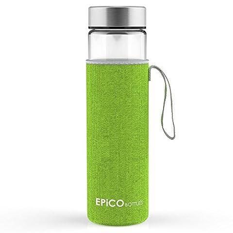 Glass Water Bottle EPiCO BOTTLES Classic 21oz | Eco-Friendly & BPA Free Drinks Bottle | Easy Fillling with Fruits & Tea | Leak Proof & Dishwasher Safe