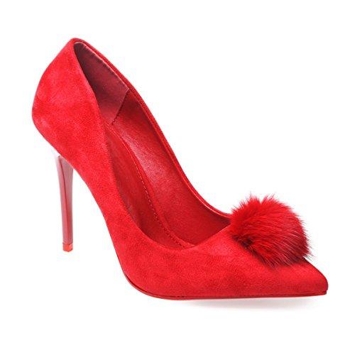 La Modeuse - Escarpins stilettos simili daim Rouge