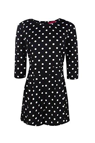 Noir Femme Mina Polka Dot 3/4 Sleeve Playsuit Noir