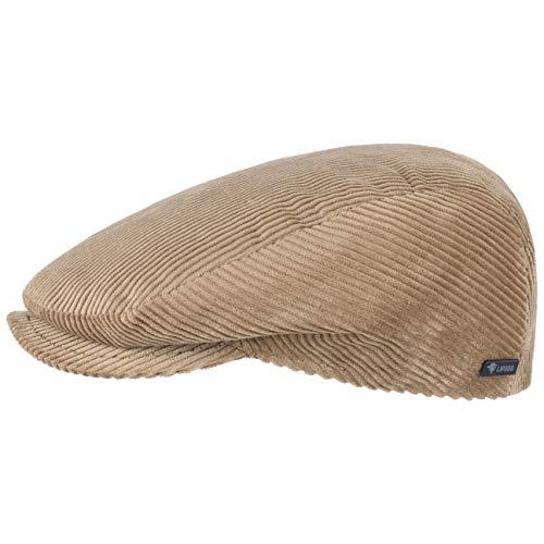 Lipodo Cord Flatcap beige Herren/Damen   Schirmmütze aus Baumwolle   Schiebermütze mit Futter   Cap Größe M 56-57 cm   Cordmütze Sommer/Winter -