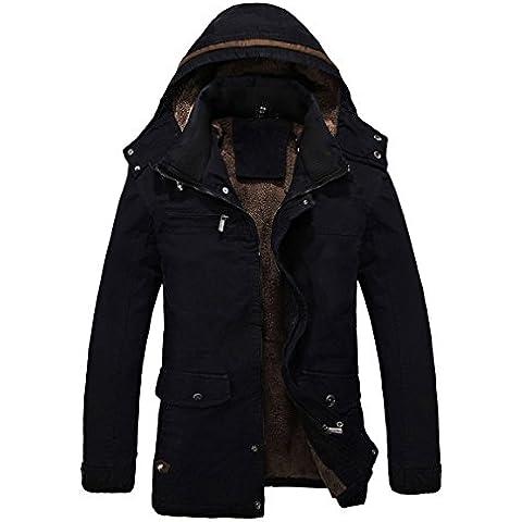 SODIAL (R) Hombres Caliente Chaquetas anorak Abrigos forrada de piel de invierno espesa Abrigo largo con capucha Negro -