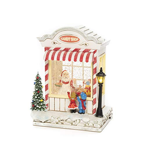 Konstsmide Snow Globe and Santa Scene, Water Filled/Indoor Use (IP20) / Optional Eight Song Music/Battery Operated: 3xC 1.5V (excl.) / Christmas Lantern 1 LED Schneekugel Candy Shop, Weiß