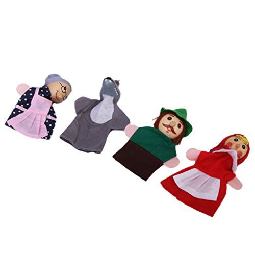 4pcs Juguete de Mano Marionetas Dedos Figuras Caperucita Roja