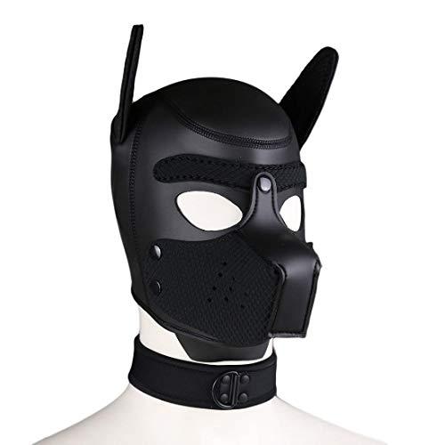 Toosexylingerie Máscara completa para perro, capucha de piel, casco extraíble boca cosplay, accesorio de fiesta con gargantillas de cuello