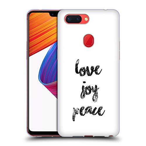 Head Case Designs Offizielle KookiePixel Love Joy Peace Typographie Soft Gel Huelle kompatibel mit Oppo R15