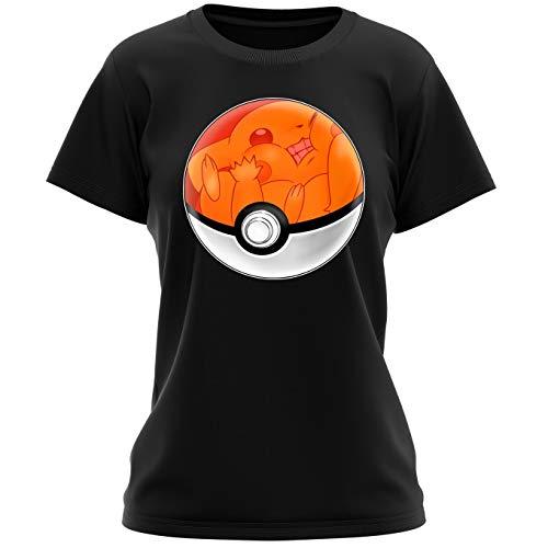 T-Shirt Femme Noir Pokémon parodique La Poké Ball de Pikachu : Pika Pas Cool ! (Parodie Pokémon)