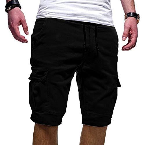 Cindeyar Herren Cargo Hose Shorts Sommer Bermuda Kurze Hose Chino Jogger Hose(Schwarz.M)
