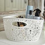 Curver 7 Litre Lace Effect Basket, Vintage White