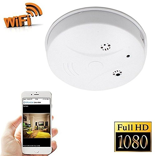 FiveSky 1080P HD P2P WiFi Hidden Camera Smoke Detector Nanny Spy Cam With 90° Wide View Angle and Motion Detection for Home Security & Surveillance Free Apps for iOS Android, PC and Mac