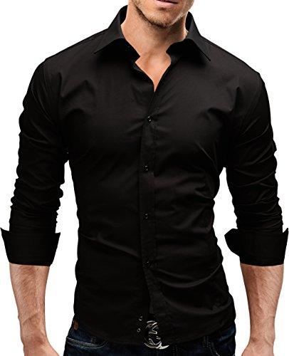 Merish Hemd Slim Fit 14 Farben Größen S-XXL Herren Modell 01 Schwarz M