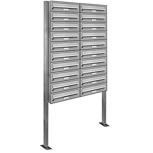 AL Briefkastensysteme 20er Edelstahl Standbriefkasten rostfrei als 20 Fach Briefkastenanlage DIN A4 in Postkasten Briefkasten Design modern