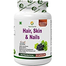 NutrineLife Biotin Hair Skin Nails Supplement for Healthy Hair Growth, Skin Nourishment, Nail Strength-60 Capsules(Pack of 1)