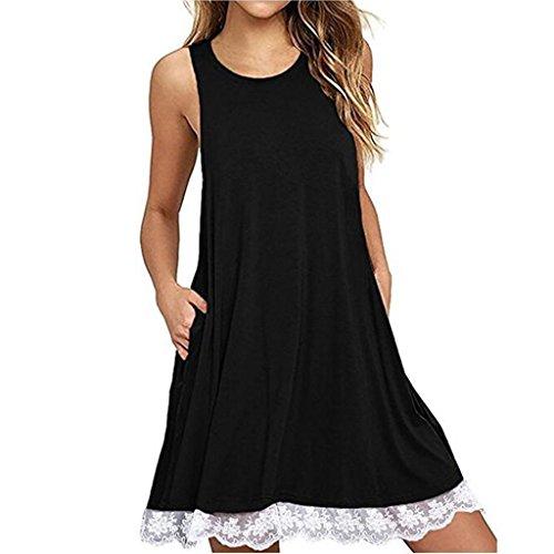 O-Ausschnitt Casual LACE Ärmelloses über Knie Kleid Lose Party Kleid Sommerkleid Minikleider Tunikakleid Bohemian Strandtunika (Schwarz, XXL) (Belle Im Roten Kleid)