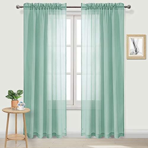 DWCN Vorhang, Leinenoptik, Gardinenstange aus Volie, durchscheinend, für Schlafzimmer, 2 Stück 108