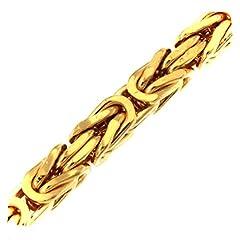 Idea Regalo - Bracciale Bizantina 18ct oro doublé 3 mm lunghezza 23 cm uomo donna gioielli regalo dalla fabbrica tendenze