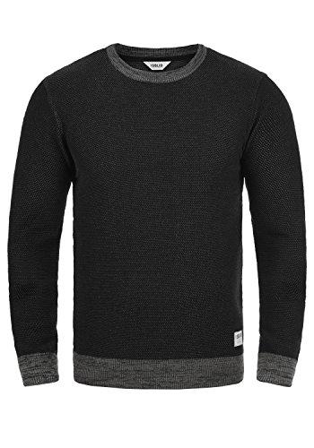!Solid Raekwans Herren Strickpullover Feinstrick Pullover Mit Rundhals Und Melierung Aus 100% Baumwolle, Größe:M, Farbe:Black (9000)