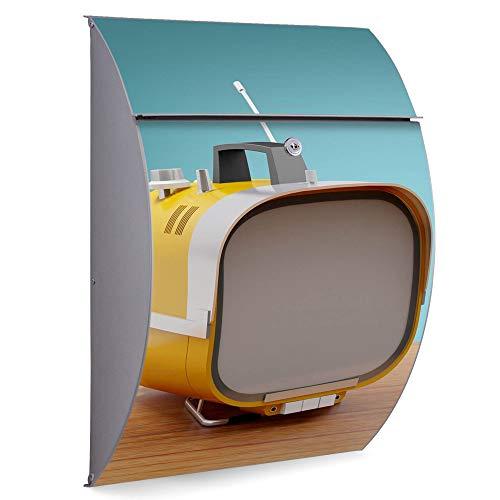 Burg Wächter Edelstahl Standbriefkasten | Modell Riviera 46cm x 33,5cm x 13cm groß mit Ständer | Postkasten freistehend, großer A4 Einwurf, 2 Schlüssel | Briefkasten mit Motiv Tragbarer Fernseher