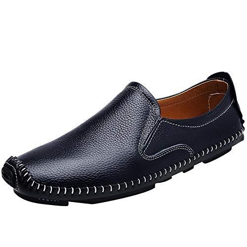 Best-choise Mocassino da Guida per Uomo Mocassino da Barca Slip On Style Ox Leather Low Top Simple British Style Splendente (Color : Blu, Dimensione : 40 EU)