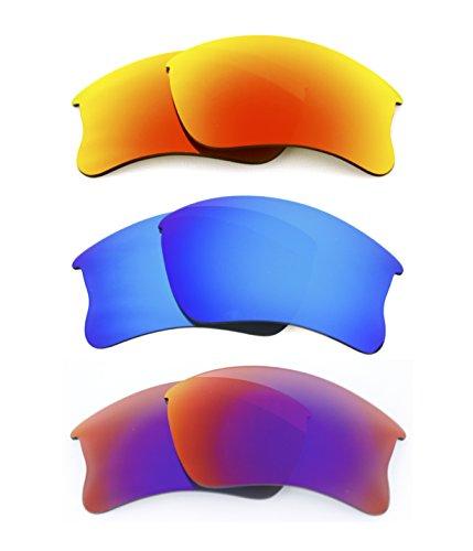 NEU polarisierte Ersatz Fire Rot/Ice Blau/Rot Objektiv für Oakley Flak Jacket XLJ Sonnenbrille