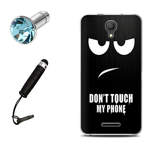 Lusee® Funda de silicona para Alcatel OneTouch Pixi 4 5.0 OT5010D 3G Suave Cascara TPU Negro Don't touch my phone