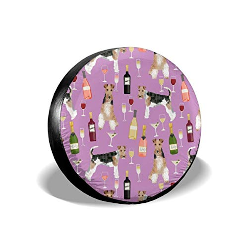 False warm warm Wire Fox Terriers Dog Breed Wine Purple Polyester Universal Spare Wheel Tire Cover Wheel Covers Jeep Trailer RV SUV Truck Camper Travel Trailer Accessories(14,15,16,17 Inch) 14inch -