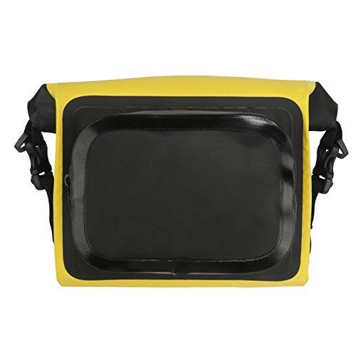 Tourbon Bolsa impermeable para manillar de bicicleta, parte superior delantera de PVC, bolsa de tubo enrollable, amarillo