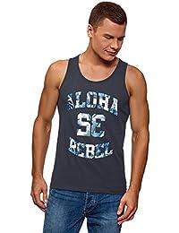 oodji Ultra Hombre Camiseta de Tirantes de Algodón con Estampado