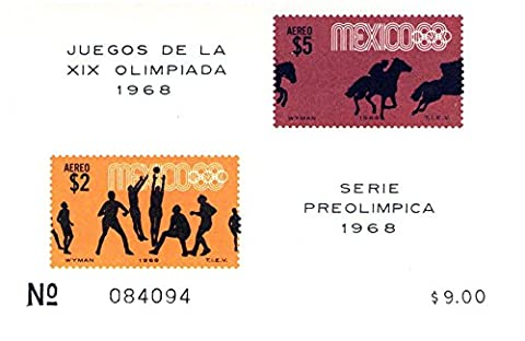 Imperforate Souvenir Sheet Pre-Olympics Mexico: Scott Number #C338a SS / 2 stamps / Mexico / Mint never hinged perfect quality