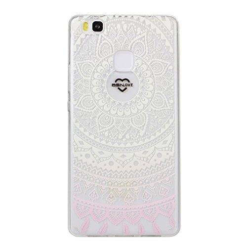 Asnlove Huawei P9 Lite Crystal Clear TPU Silikon Bumper Transparent Backcover Case Handy Schutzhülle Premium Kratzfest TPU Durchsichtige Schutzhülle für Huawei P9 Lite, White Pink Tribal Mandala -