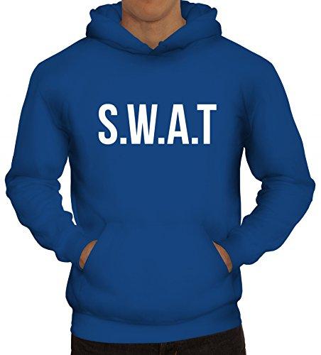 ShirtStreet Fasching Karneval Kapuzenpullover mit SWAT Kostüm 1 Motiv, Größe: S,Royal Blau
