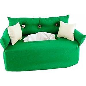 Taschentuchsofa Grün mit Knöpfen - Handgefertigt
