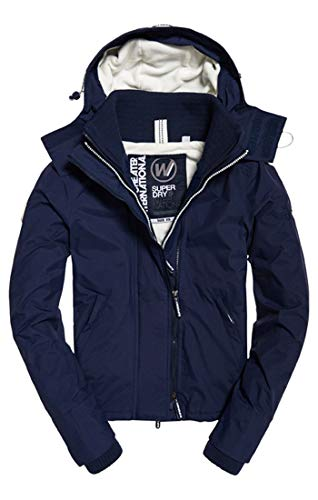 Superdry Women's Arctic Hooded Pop Zip Windchea Sports Jacket, Blue (Navyecru Juk), Small (Size: 10.0)