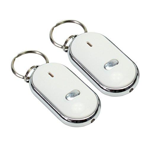 Pinzhi 2Pcs LED verloren Key Finder Locator Schlüsselanhänger Whistle Sound Control Erinnerung neu (Led Locator)