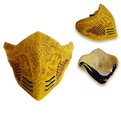 K-Flame Erwachsene Kostüm Neuheit Zubehör Mortal Kombat Masken Männer Halloween Cosplay Karneval Ostern Party Prop Kostüm,Yellow,18 * 17 * 12CM