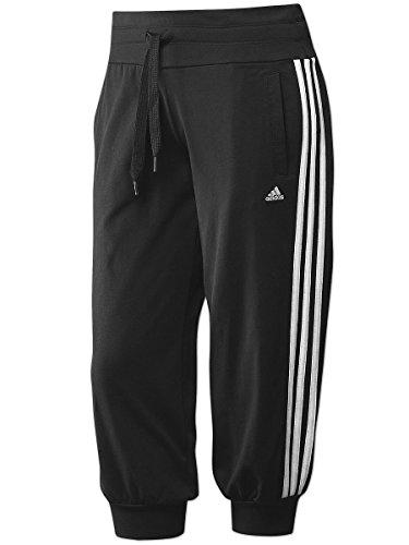 adidas Damen 3/4 Knit Hose Essentials 3S, schwarz/weiß, XXS, X13215 - Adidas Capri Jersey