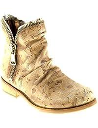 Felmini Chaussures Femme - Tomber en Amour avec Beja A270 - Bottes Lacées - Cuir Véritable - Multicolore - 38 EU Size