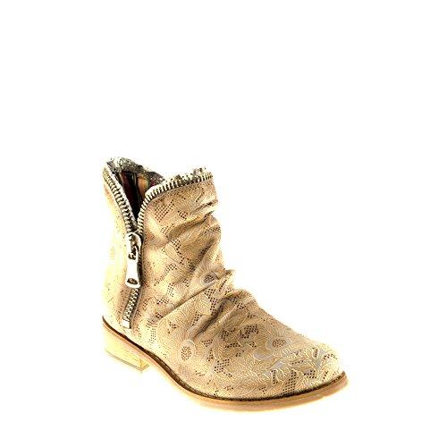 Felmini Chaussures Femme - Tomber en Amour avec Beja A936 - Bottines à Fermeture Éclair - Cuir Véritable - Marron Clair Marron Clair
