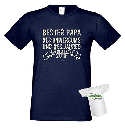 Bester Papa des Universums Daddy Vater Geschenke Set Vatertag Sprüche Fun T-Shirt und Minishirt Farbe: navy-blau Navy-Blau