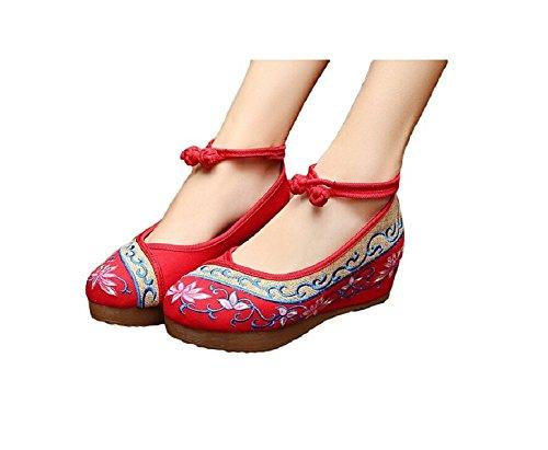 Lazutom Vintage estilo chino bordado de mujer sandalias cómodo Casual zapatos de senderismo, color rojo, talla 38 EU