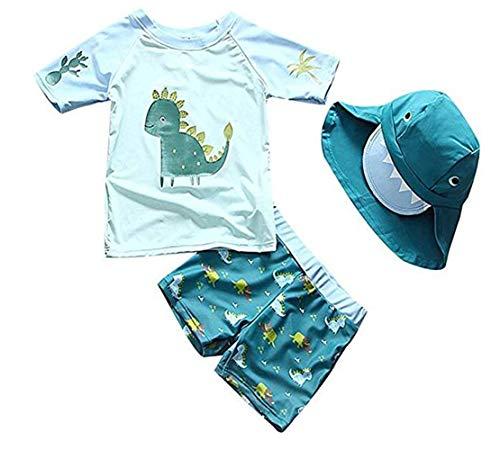 Sunbaby Baby Kleinkind Jungen Zwei Stücke Badeanzug Set Bademode Dinosaurier Badeanzug Rash Guards mit Hut UPF 50+(2-3 Jahre/Höhe 94-106 cm)