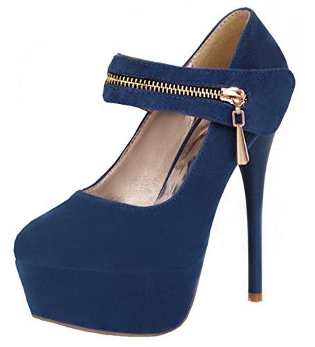 YE Damen Knöchelriemchen High Heels Plateau Stiletto Mary Jane Pumps mit Reißverschluss Schuhe Blau