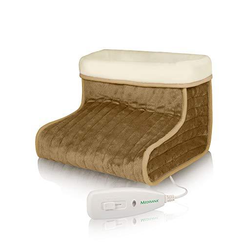 Medisana FWS 60257  Calentador de pies con forro lavable suave, 3 niveles de temperatura, apagado automático después de 90 minutos, marrón, 30 x 30 x 23 cm, 0.78 kg