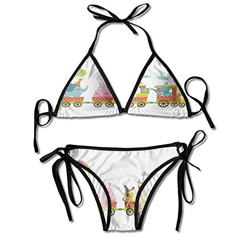 Custom Swimsuit Wrap Two Piece Style Cake Dessert Animals Balloons Printing