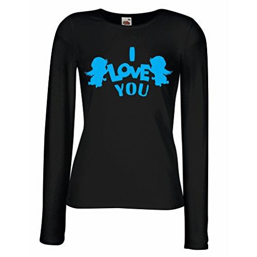 Kostüme Fünf Minuten Einfache (Weibliche langen Ärmeln T-Shirt Amorengel sagt: Ich liebe dich Zitate und Sprüche (Small Schwarz)