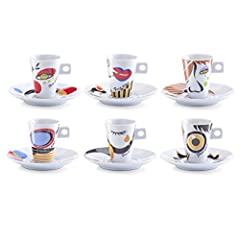Idea Regalo - Zeller 26505 Set Tazzine da Caffè Faces, Porcellana,, 0.1x5x6.7 cm, 12 Unità