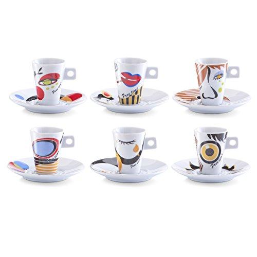 Zeller 26505 Faces - Juego de tazas de café (12 piezas, porcelana), d