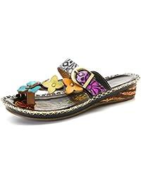 Gracosy Mules Cuir Femmes, Chaussures Été Compensées Sandales Sabots à  Talons Plateformes Semelle Confortable Printemps 08b5fcc33eed